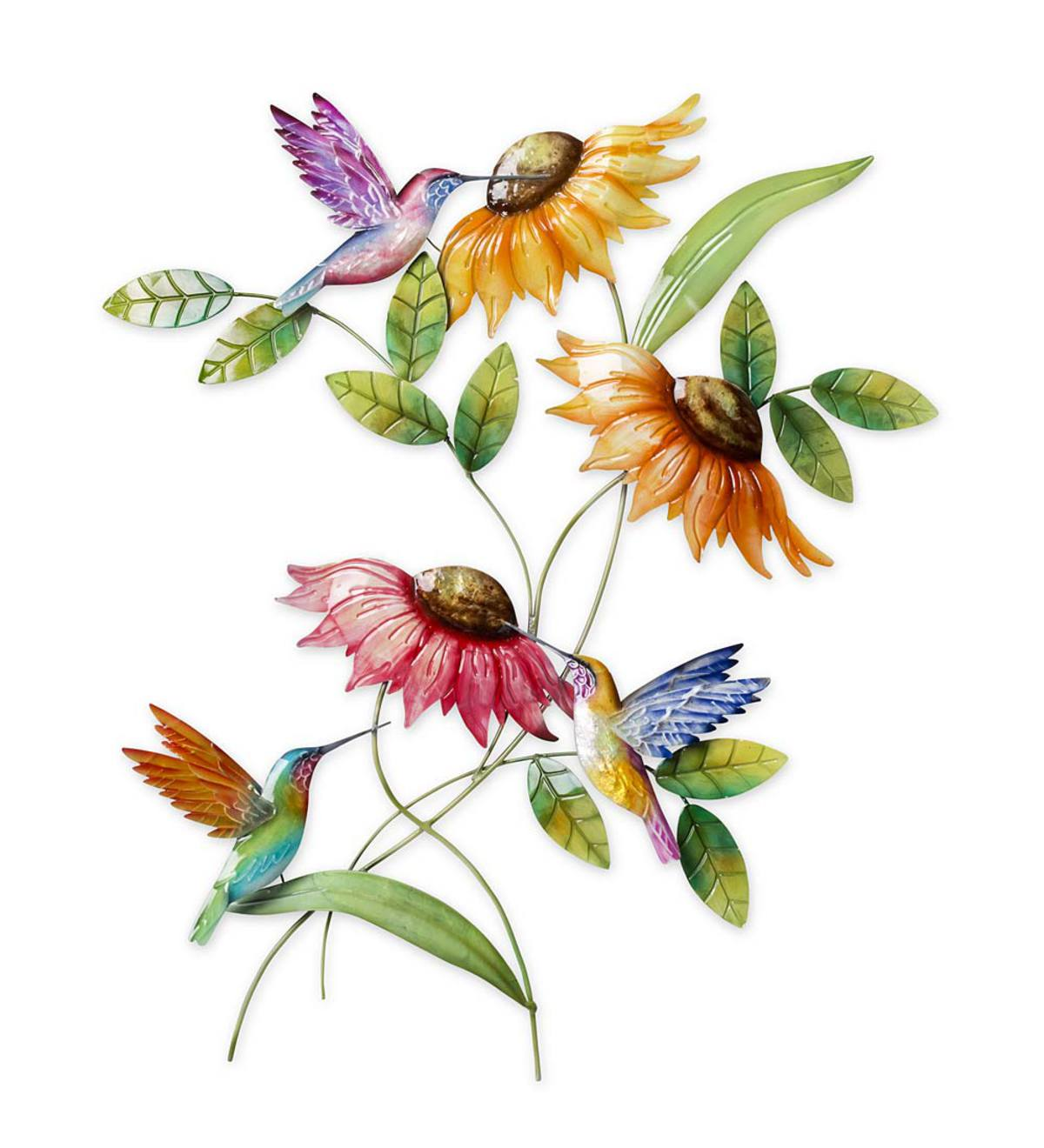 Hummingbird and Sunflower Metal Wall Art
