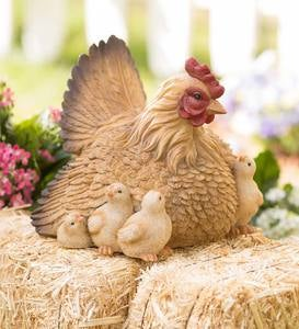Hen with Chicks Garden Sculpture