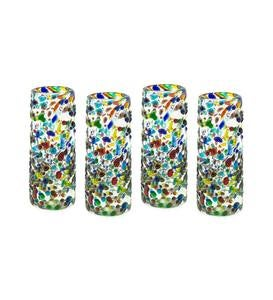 Handcrafted Recycled Glass Confetti Shot Glasses, Set of 4