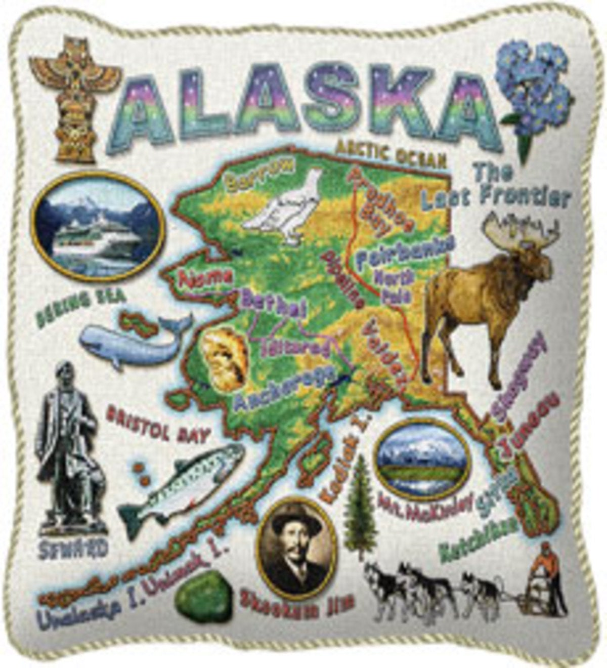 American-Made Cotton Jacquard American States Pillows - Alaska