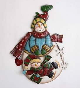Metal Snowman with Baby Snowman on Ice Skates Wall Decoration