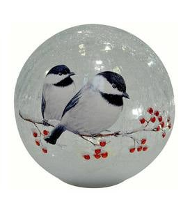Lighted Chickadee Crackle Glass Globe