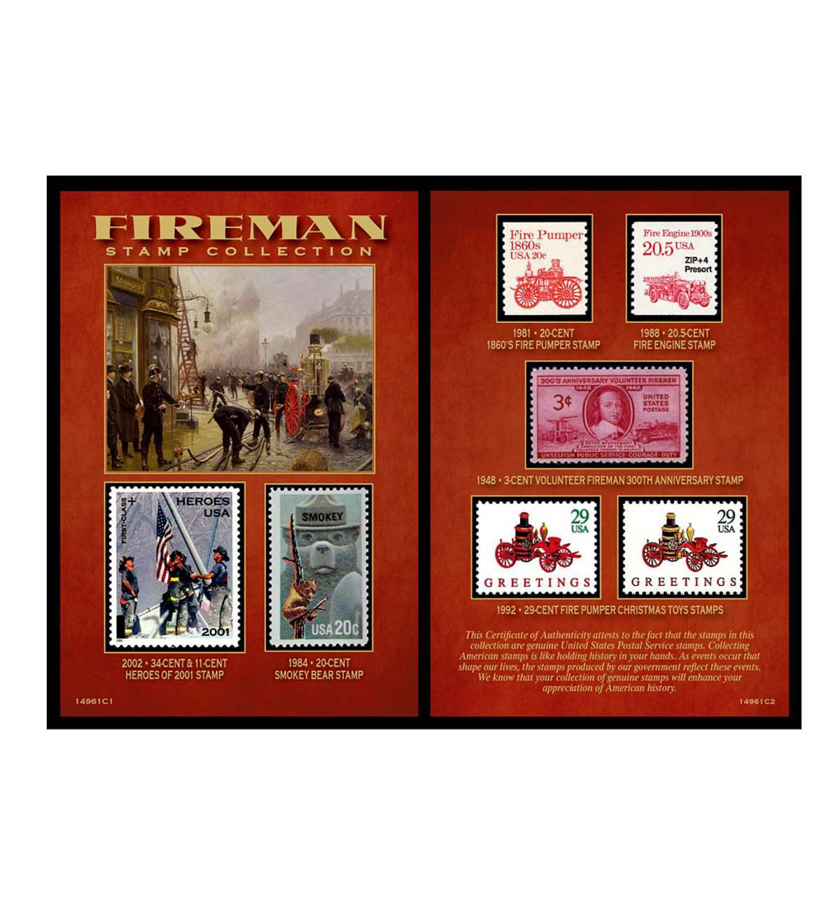 Fireman Historical Stamp Collection Gift Set