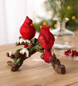 Two Cardinals on a Snowy Branch Holiday Tabletop Sculpture