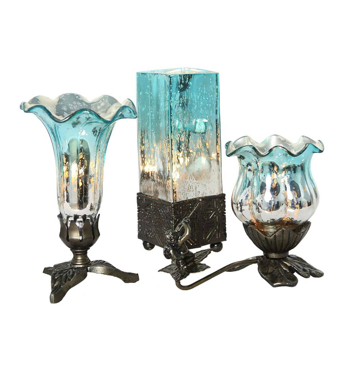 Mercury Glass Accent Lamps, Set of 3 - Teal/Silver