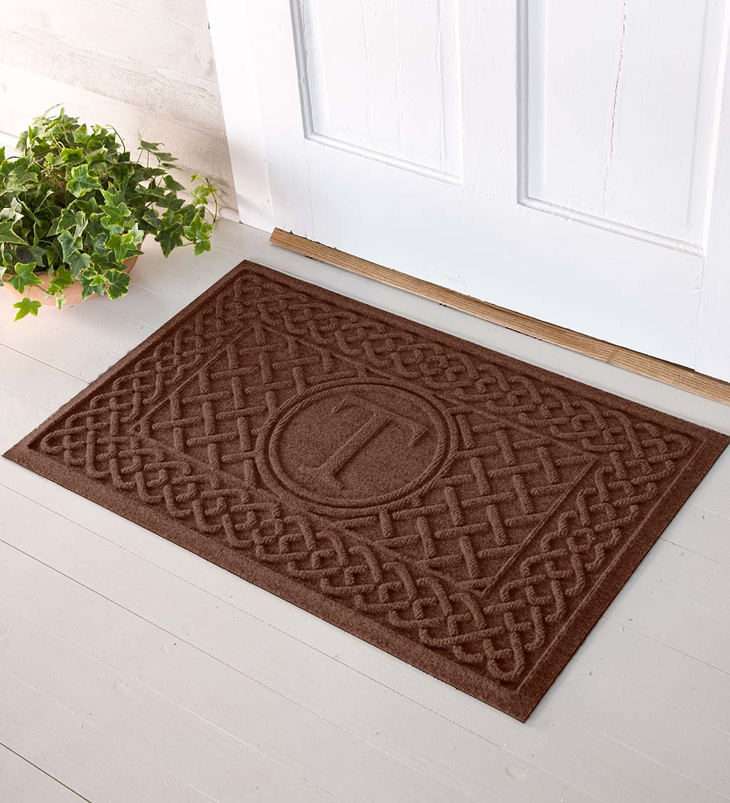 Waterhog Cable Weave Doormat with Single Initial, 2' x 3' - Brown