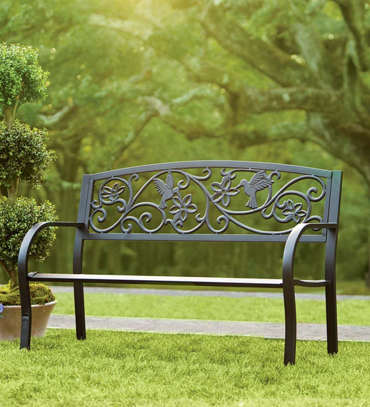 Hummingbird Metal Garden Bench - Black