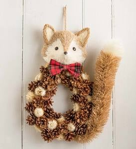 Handcrafted Fox Natural Grass and Pinecone Holiday Wreath