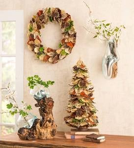 Natural Leaves and Pinecones Wreath and Tree