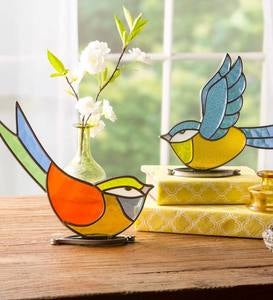 Indoor/Outdoor Colorful Stained Glass Flying Bird Tabletop Art