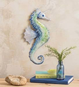 Metal and Capiz Sea-Unicorn Wall Art