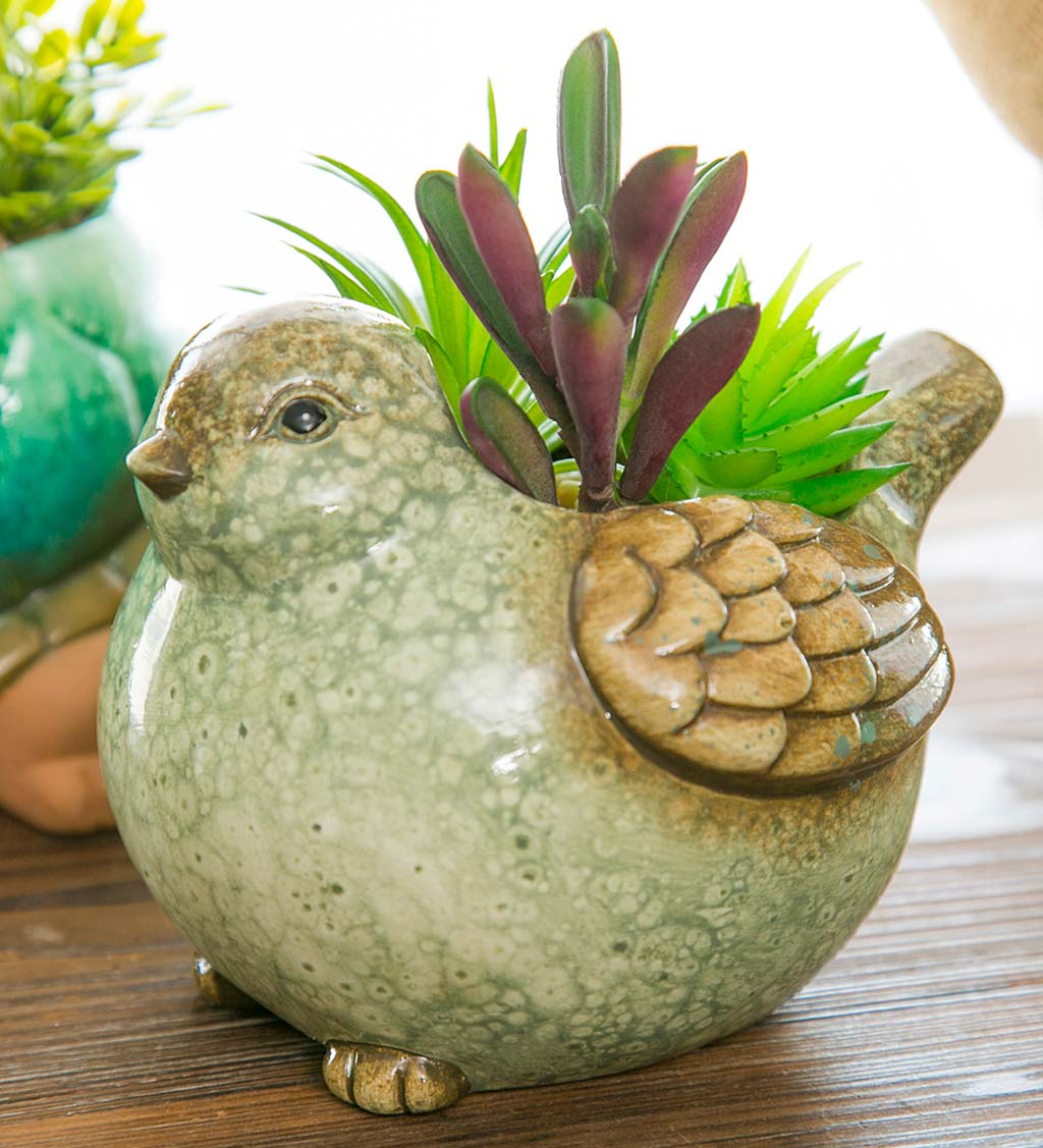 Ceramic Bird Planter with Faux Succulents