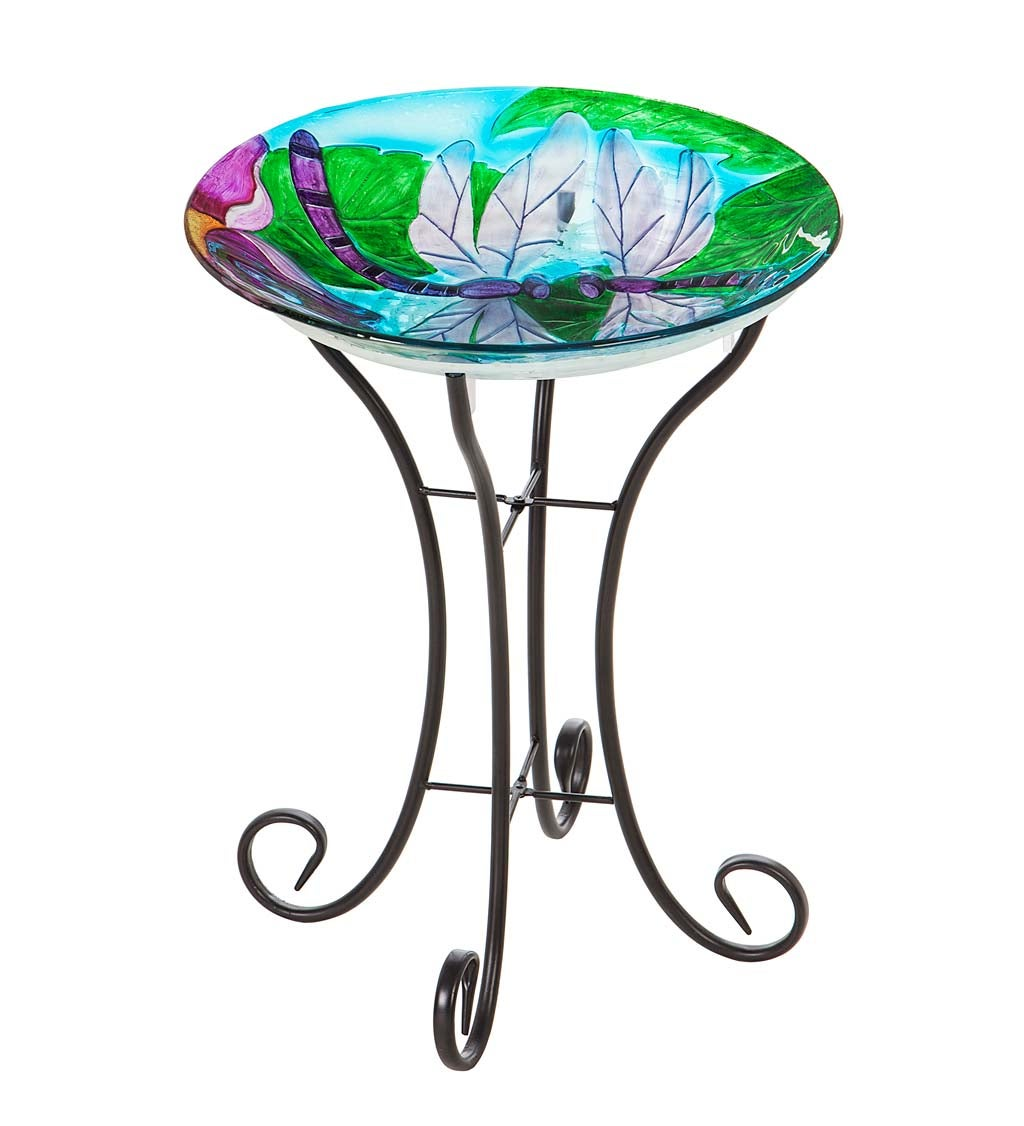 Dragonfly Duo Solar Hand Painted Embossed Glass Bird Bath with Stand
