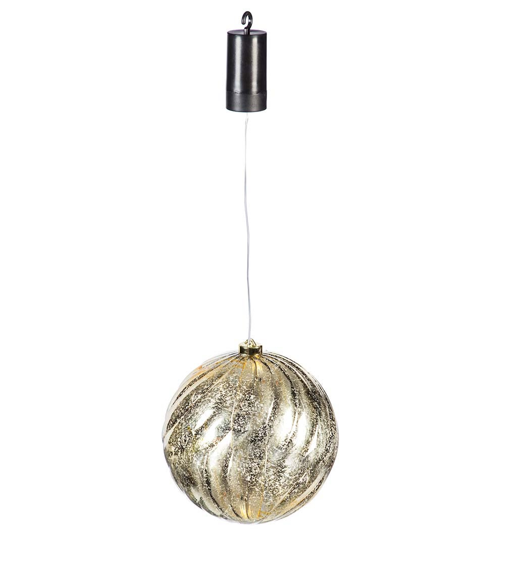 Indoor/Outdoor Shatterproof Holiday LED Lighted Hanging Ornament, Set of 2 - Silver and Gold