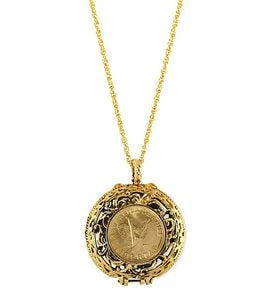 Angel Libertad Coin Locket With Goldtone Chain