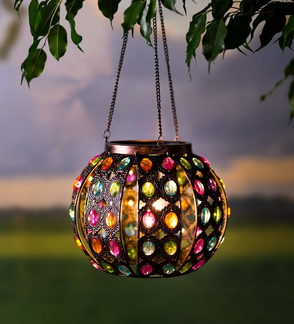Metal and Acrylic Jeweled Lighted Hanging Solar Globe