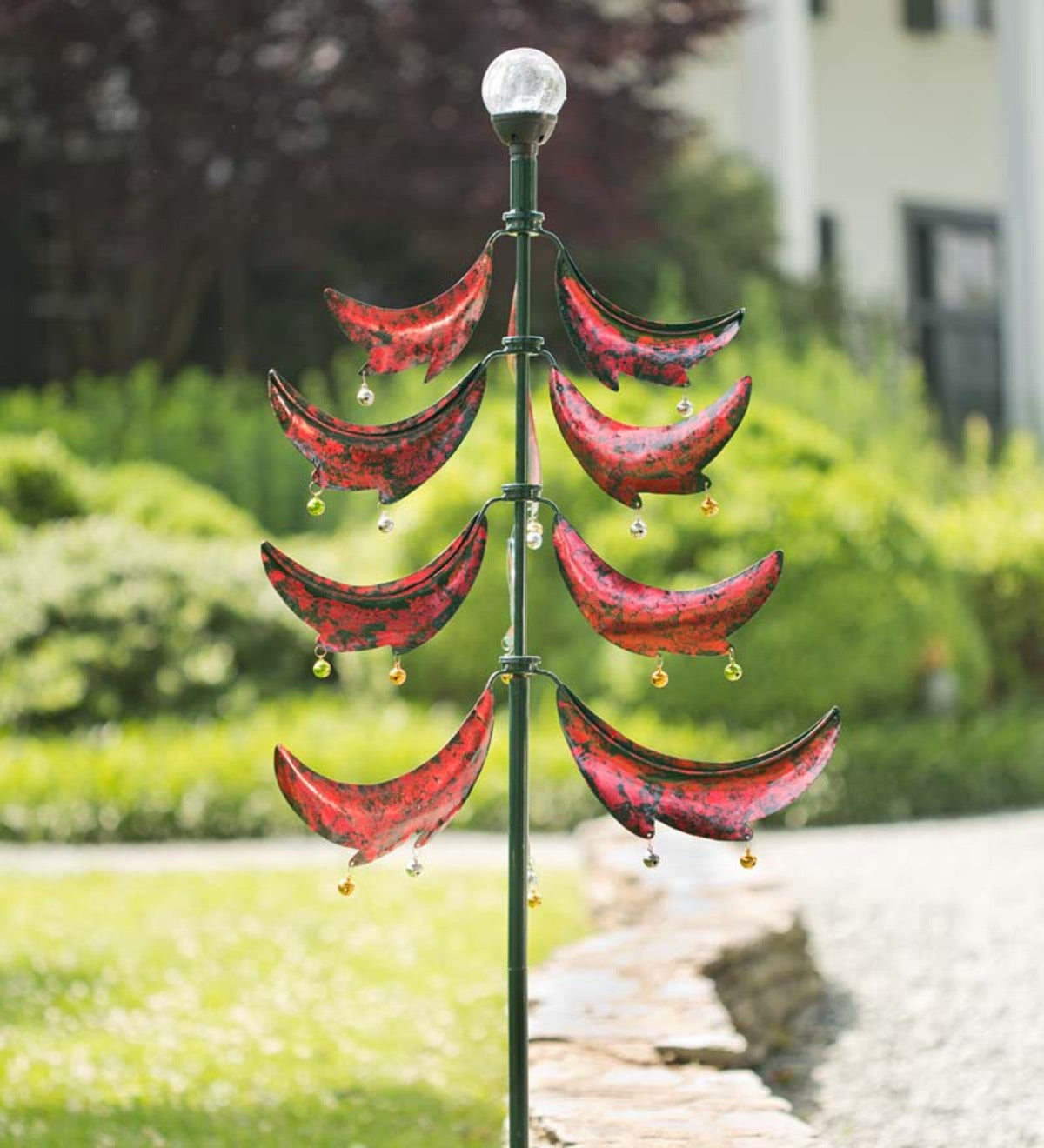 christmas tree metal wind spinner with solar globe - Christmas Tree Spinner