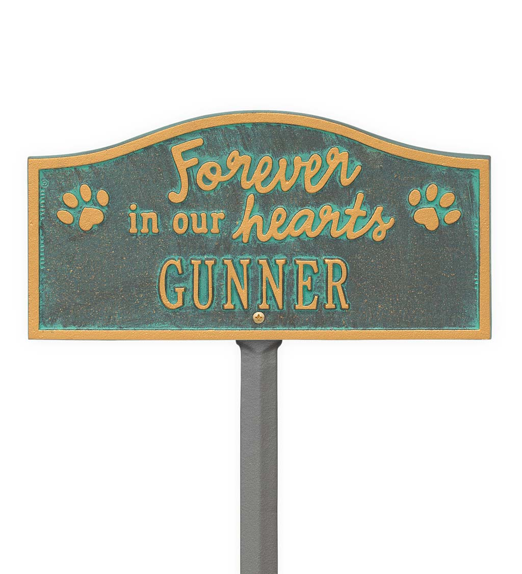 Forever In Our Hearts Customizable Metal Pet Memorial Marker Stake