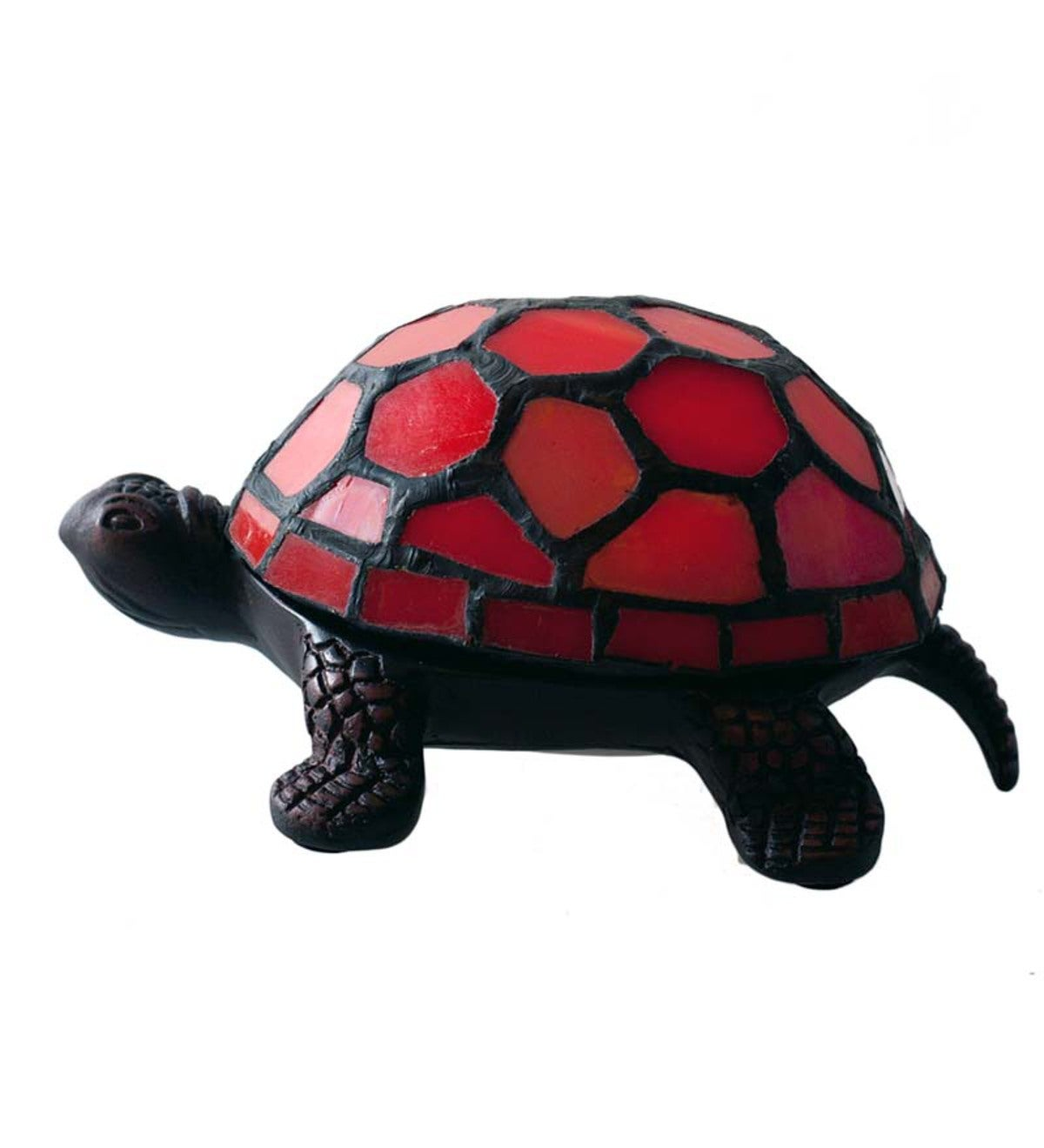 Stained Glass Turtle Accent Lamp - Red