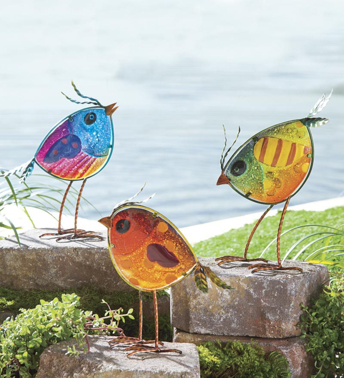 Indoor/Outdoor Metal and Colorful Iridescent Glass Bird Statues, Set of 3