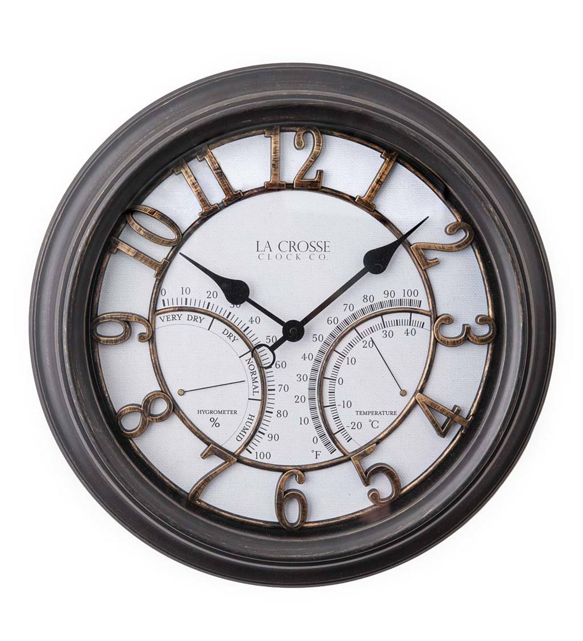 Indoor/Outdoor Analog Wall Clock with Temperature and Humidity Displays
