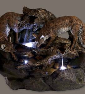 Lighted Foxes Fountain