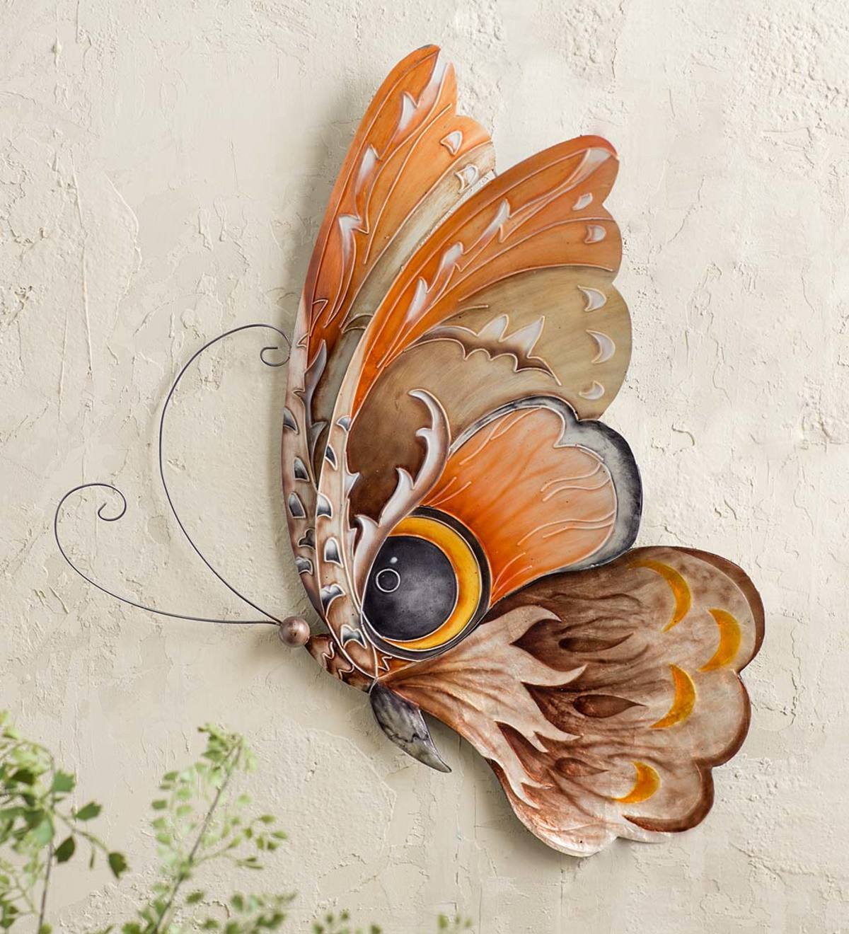 Metal and Capiz Owl Butterfly Wall Art