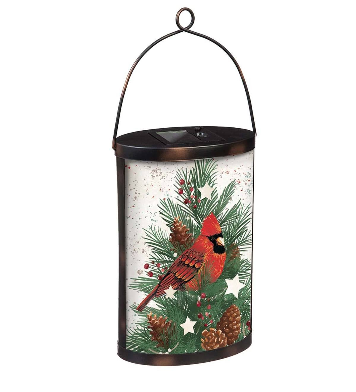 Cardinal and Spruce Solar Glass Lantern