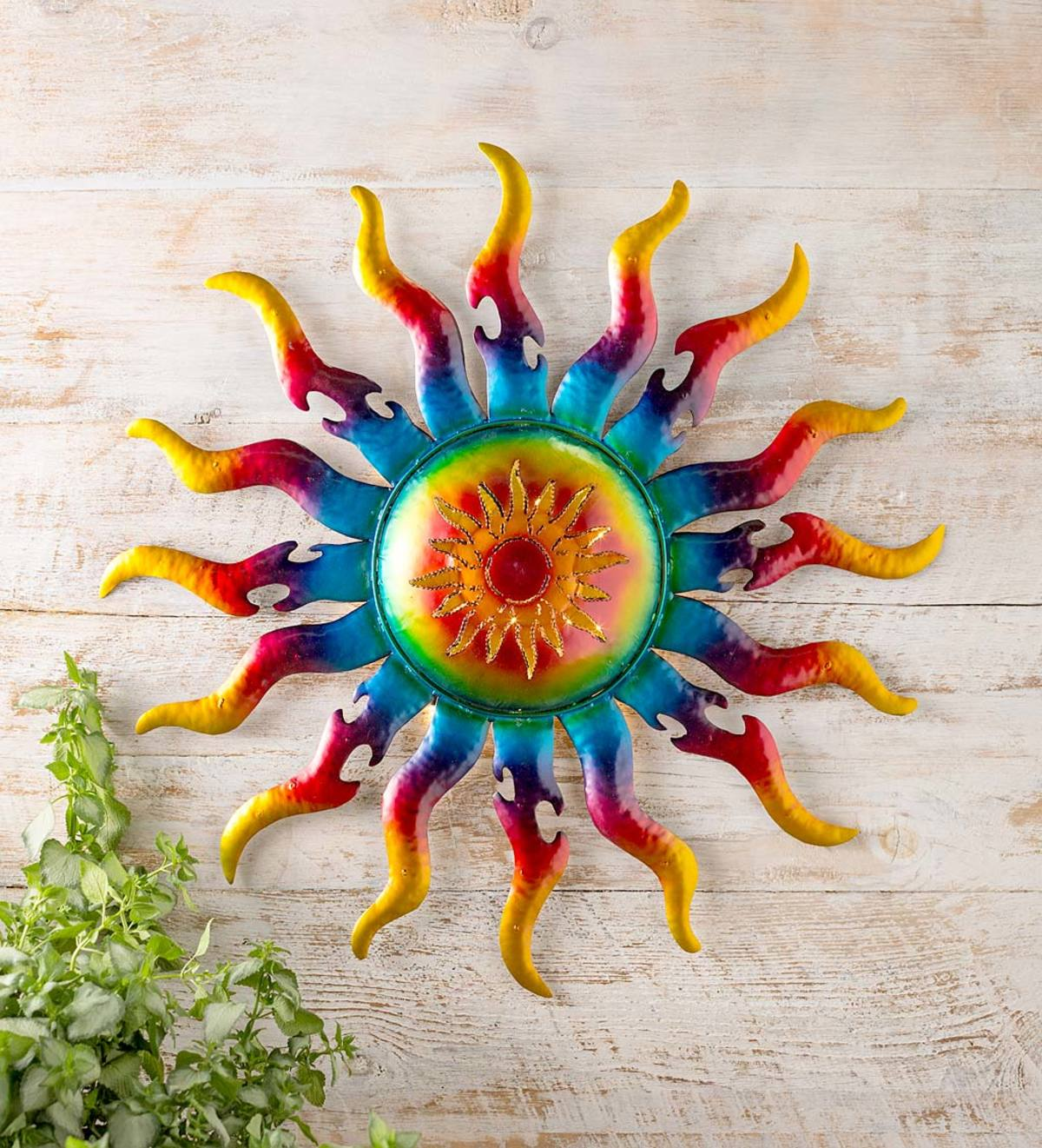 Handcrafted Lighted Metal Sun Wall Art