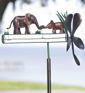 Mother And Baby Elephant Recycled Metal Whirligig   Wind U0026 Weather  Exclusive Design