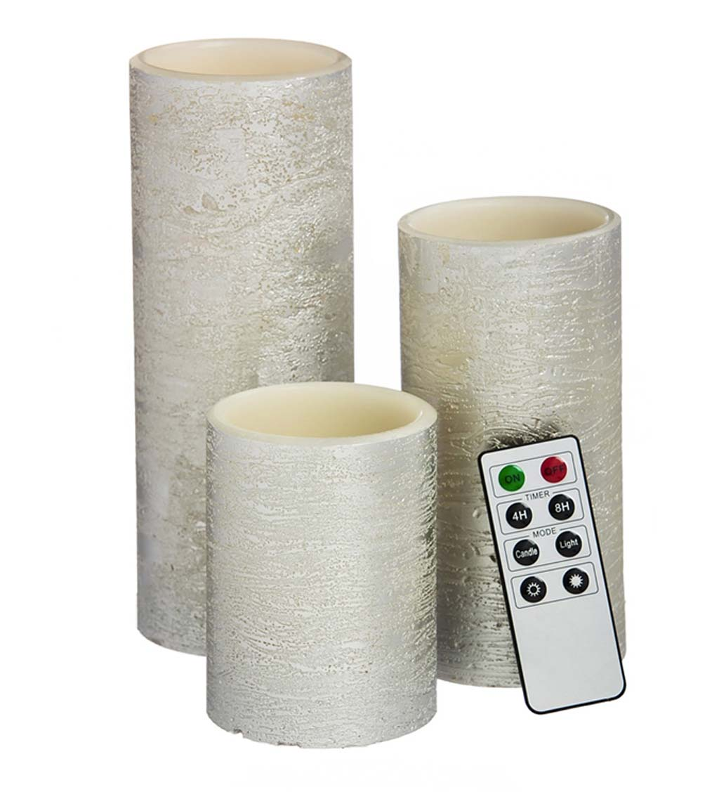 Silver LED Pillar Candles with Remote, Set of 3