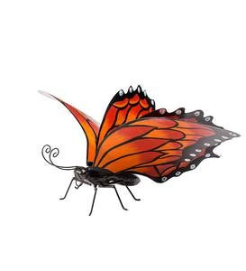 Hand-Painted Orange Metal Monarch Butterfly Outdoor Sculpture