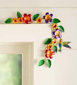 Handcrafted Colorful Metal Hummingbird and Flowers Door Crawler