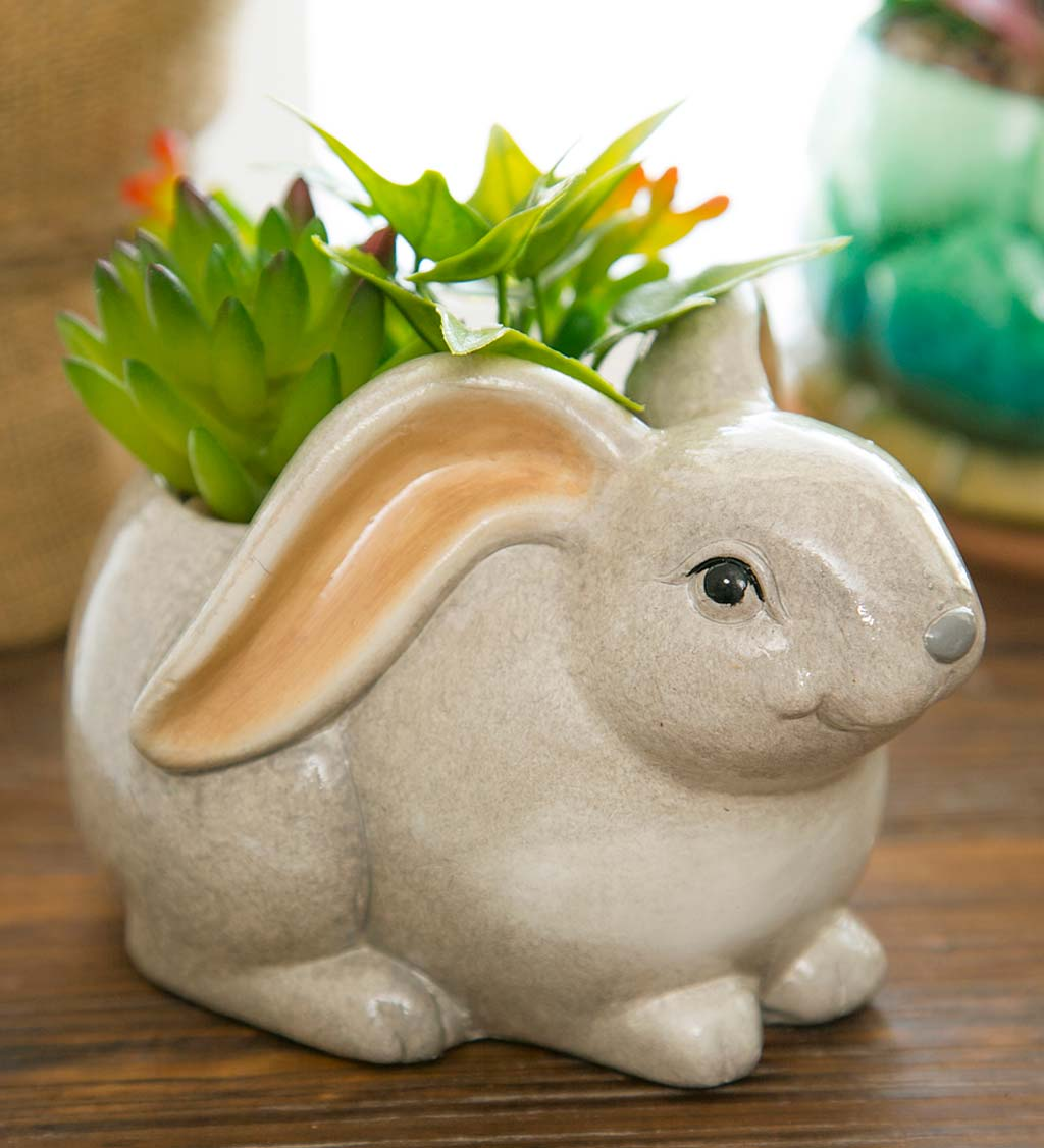Ceramic Rabbit Planter with Faux Succulents