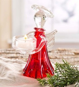 Red Glass Angel Tealight Holder - Red