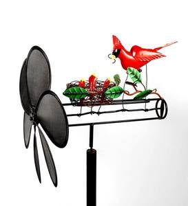 Handcrafted Cardinal With Babies in Nest Metal Propellor Whirligig