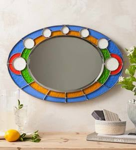 Stained Glass Oval Wall Mirror