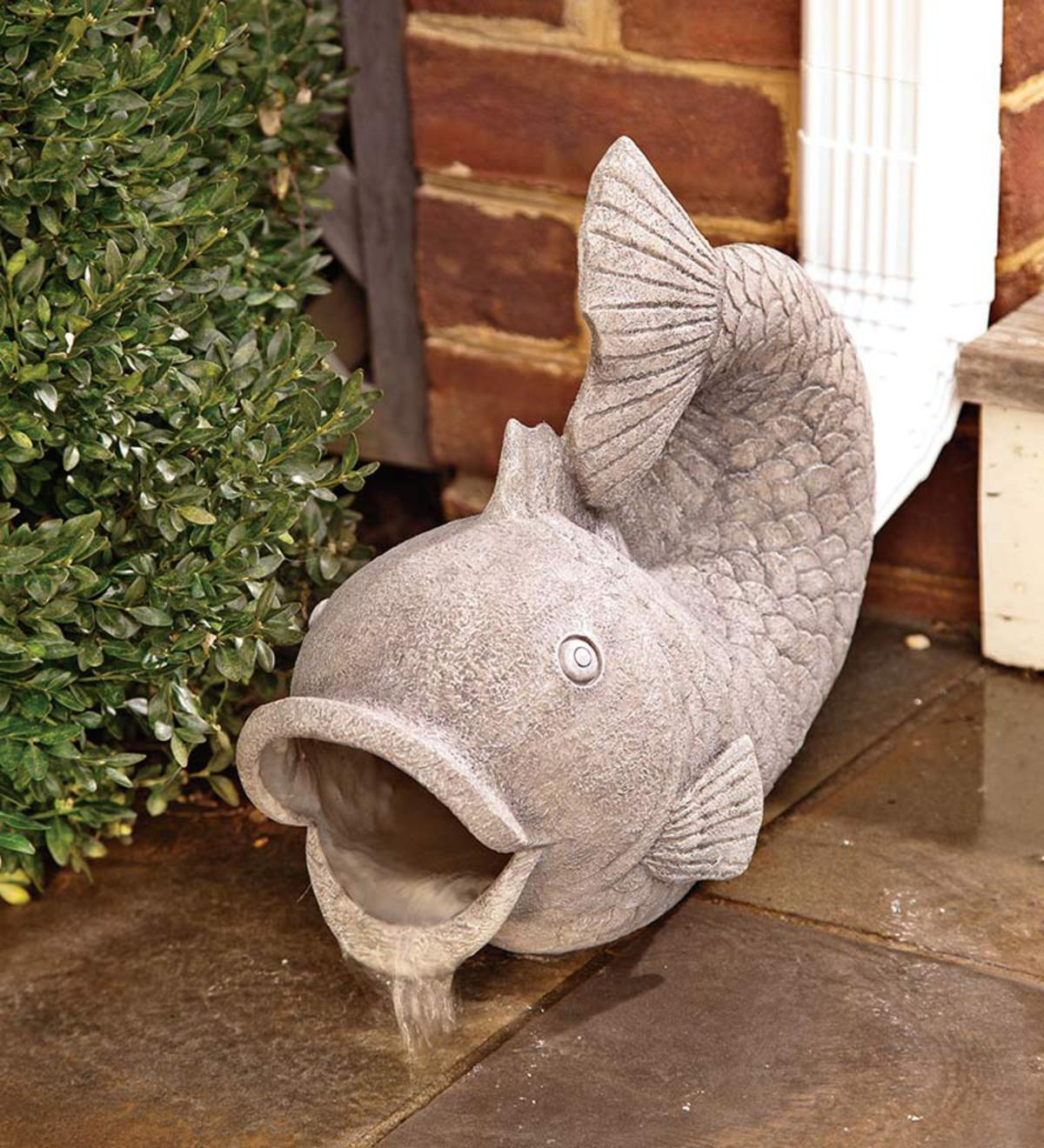 Resin Friendly Fish Decorative Downspout Cover Wind And Weather