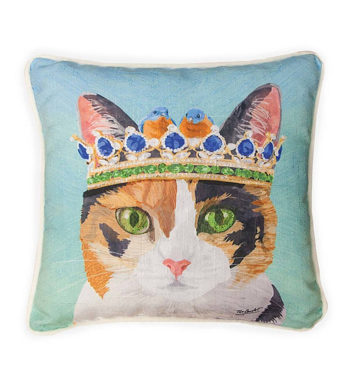 Cat in Crown with Bluebirds Throw Pillow