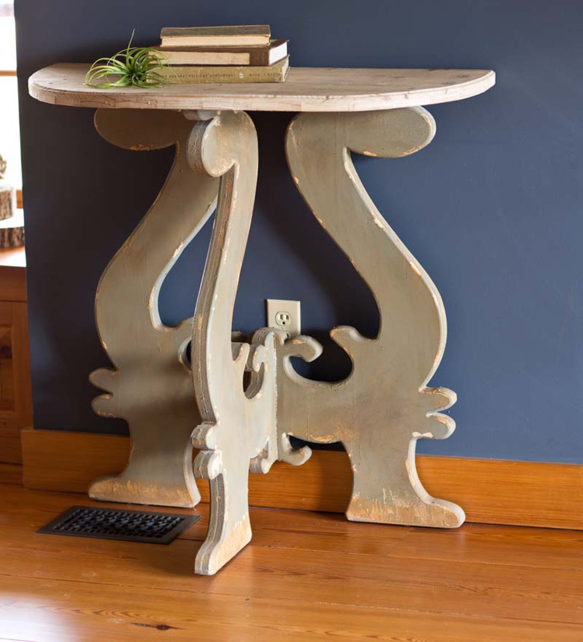 Distressed Wood Demilune Table
