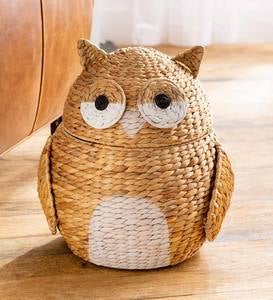Whimsical Woven Water Hyacinth Owl Storage Basket