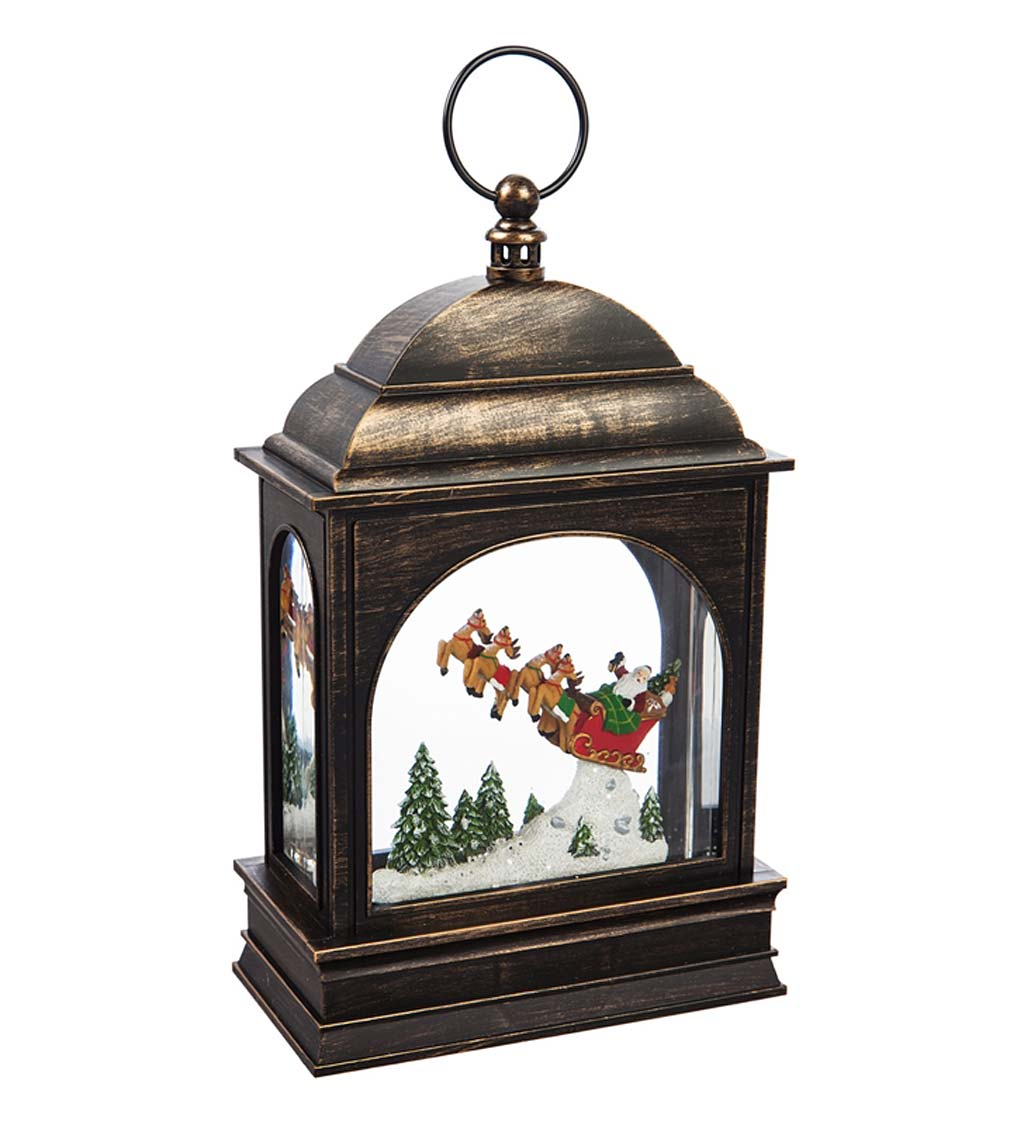 Santa and Sleigh LED Lantern with Spinning Action Table Décor