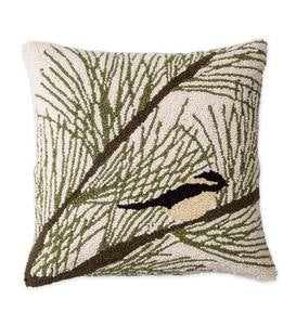Chickadee in an Evergreen Tree Indoor 100% Wool Hooked Pillow