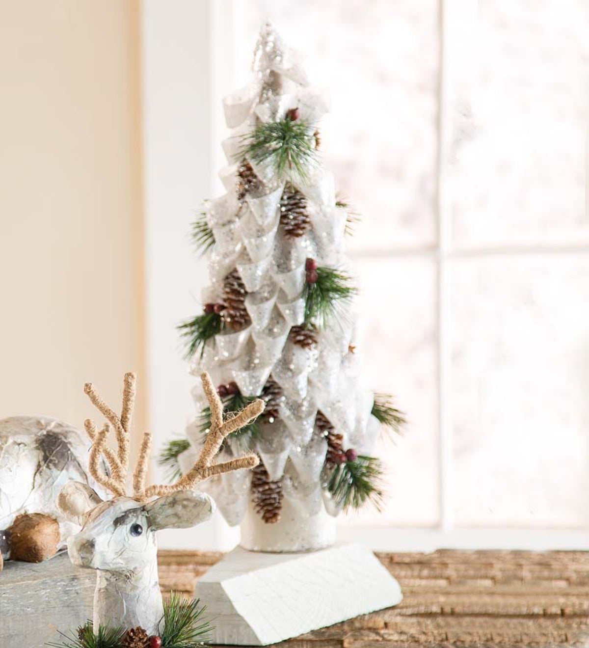 Christmas Trees Ribbon: White Ribbon Table Christmas Tree With Pinecones