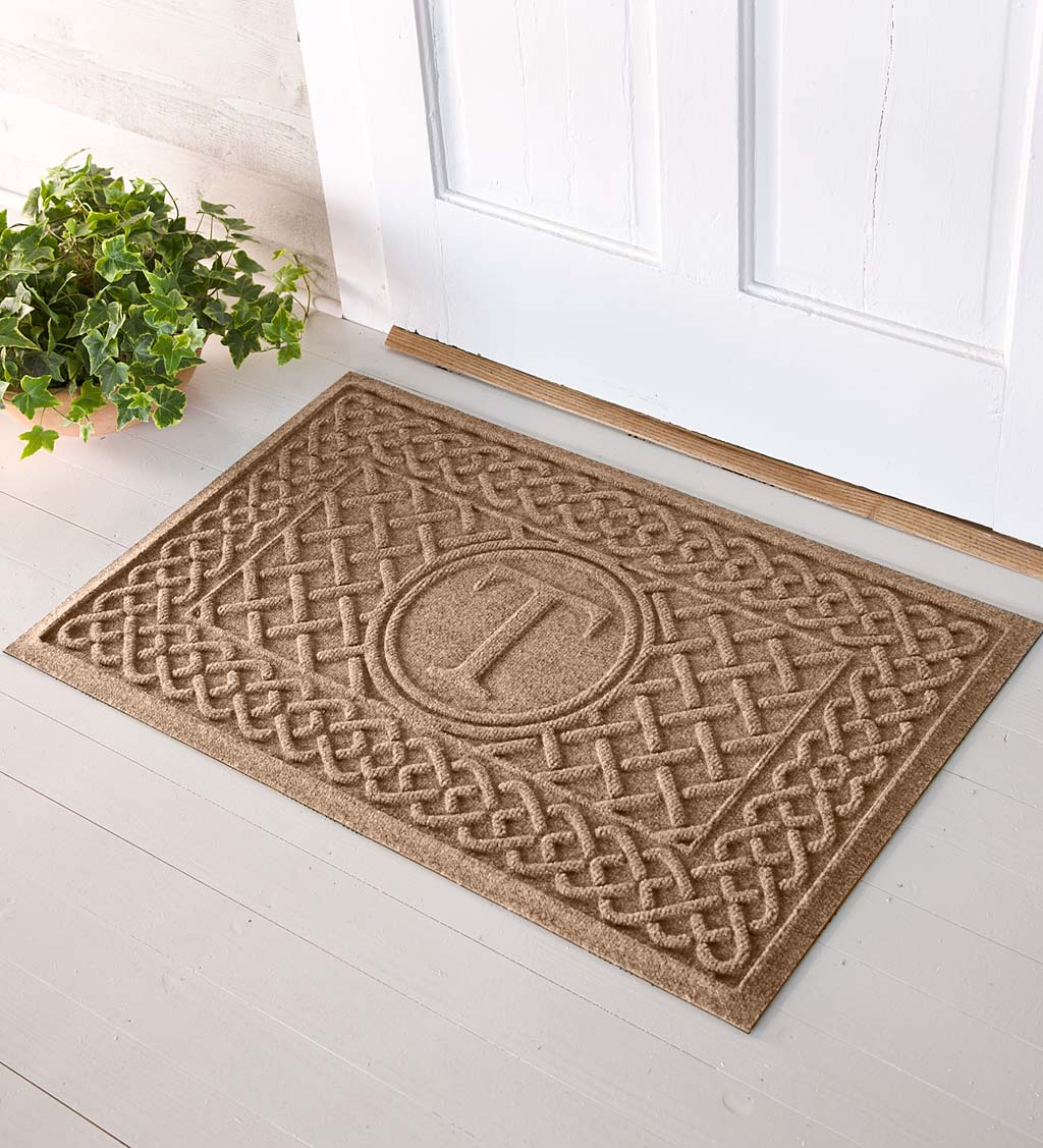 Waterhog Cable Weave Doormat with Single Initial, 2' x 3' - Camel