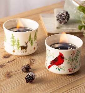 Cardinal and Deer Holiday Ceramic Oil Candles, Set of 2