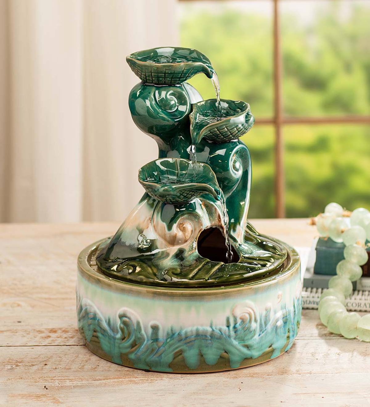 Ceramic Seashell Indoor Fountain