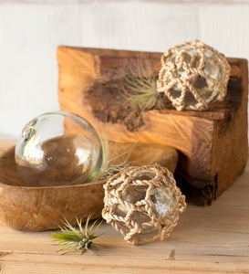 Recycled Glass Balls with Abacá Rope, Set of 3