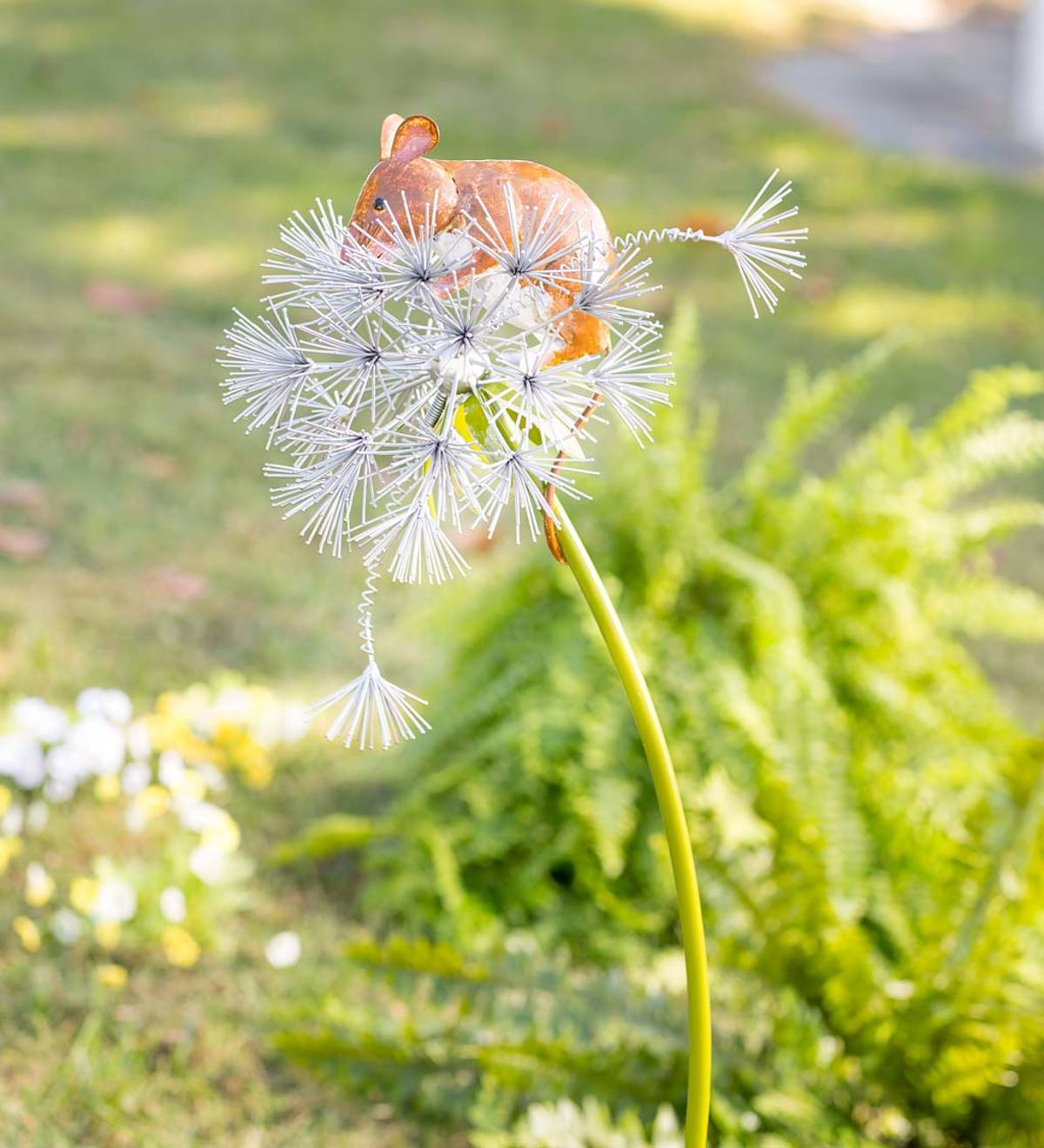 Handcrafted Mouse on a Dandelion Metal Decorative Garden Stake