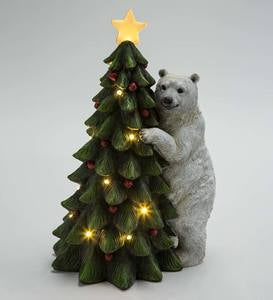 Polar Bear with Christmas Tree Lighted Holiday Statue